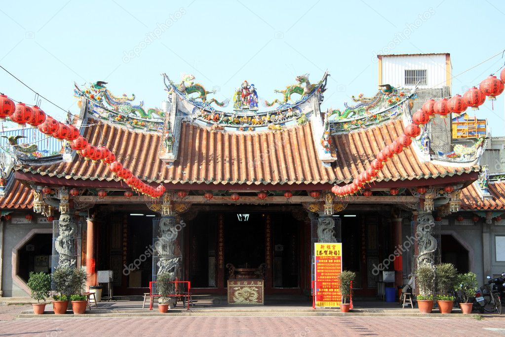 Facade of chinese temple in Lukang, Taiwan — Stock Photo #10958718