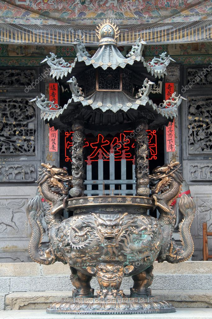 Bronze tripod in chinese temple in Tainan, Taiwan  Stock Photo #10962932