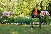 Flames in a barbecue — Stock Photo