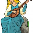 Maiden playing a lute. — Image vectorielle
