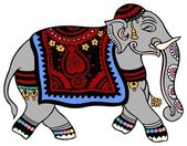 Elephant dressed for a party — Stock Vector
