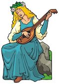 Maiden playing a lute. — Stock Vector