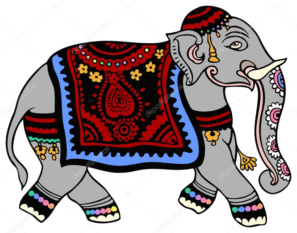 Indian elephant in parade regalia.  — Stock Vector #11927633
