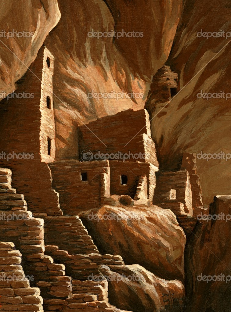 Anasazi cliff dwelling in Mesa Verde National Park.  Acrylic miniature painting by Darla Hallmark  Stock Photo #11978791