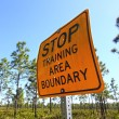 Stop Training Area Boundary Sign — Stockfoto