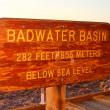 Badwater Basin Elevation Sign — Stock Photo