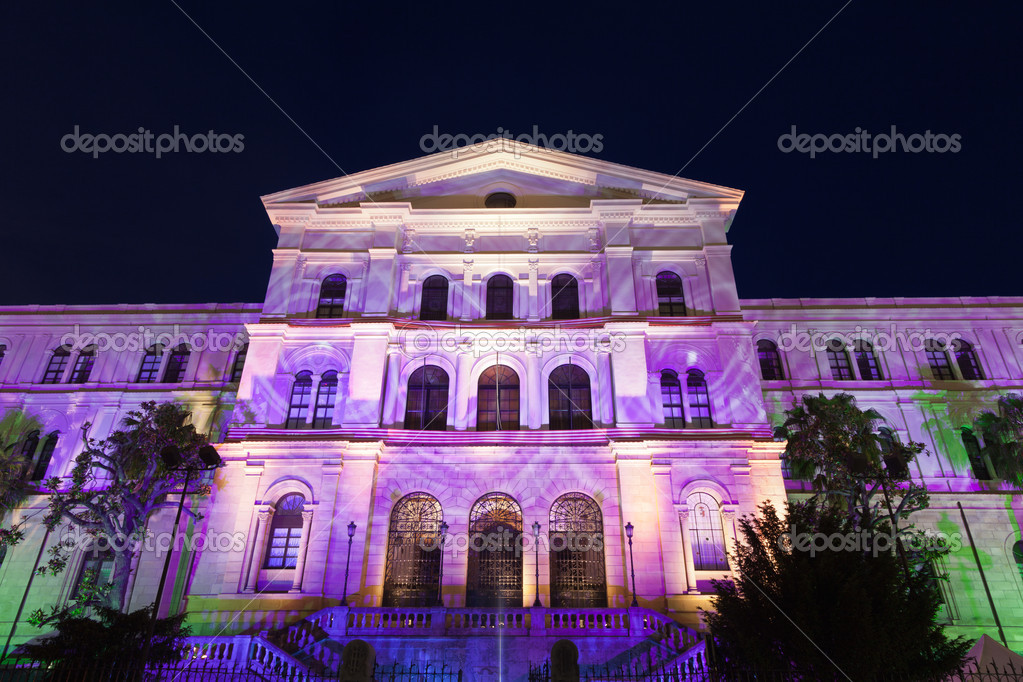 Facade illuminated with a set of colors of the University of Deusto in Bilbao, Spain Provincial building in Bilbao, Spain  Stock Photo #11305771