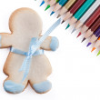 Cookie and pencils — Stock Photo