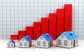 Growth price of houses — Stock Photo
