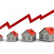 Graph and houses — Stock Photo