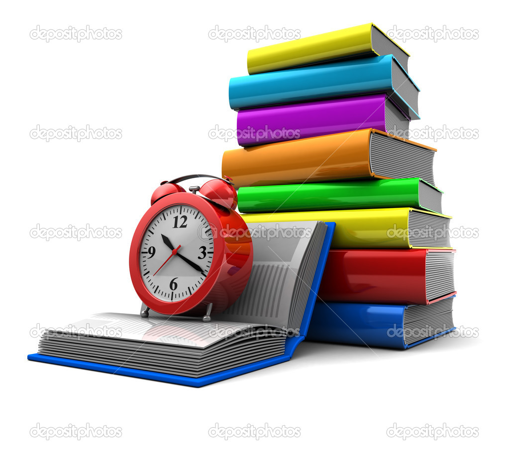 Education concept: pile of color books with clock  Stock Photo #12412552