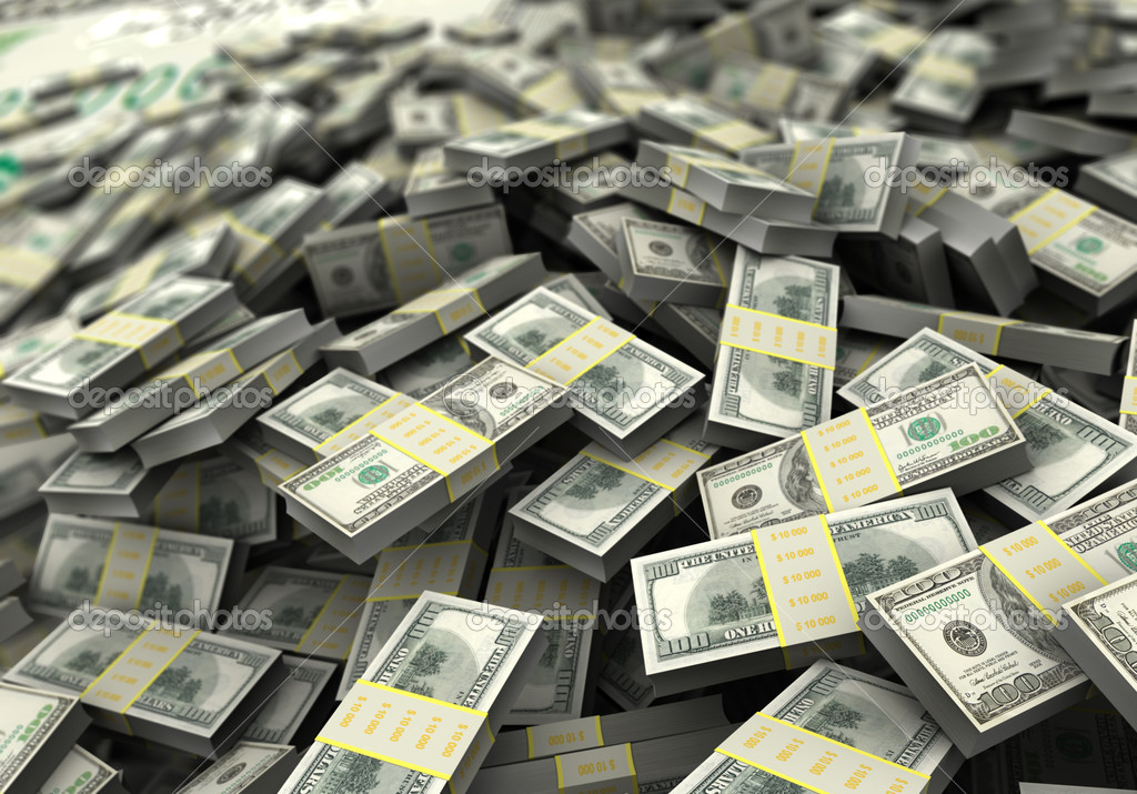 Money concept, a lot of hundred dollars. 3d image — Stock Photo #12412565