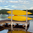 Stock Photo: Kayaks on Dock