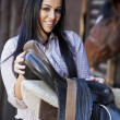 Girl in stable — Stock Photo