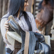 Girl in the stable — Stock Photo