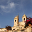 Piazza di Spagna (Spanish Steps) and church Trinita dei Monti — Stock Photo