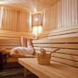 Foto Stock: Girl in sauna