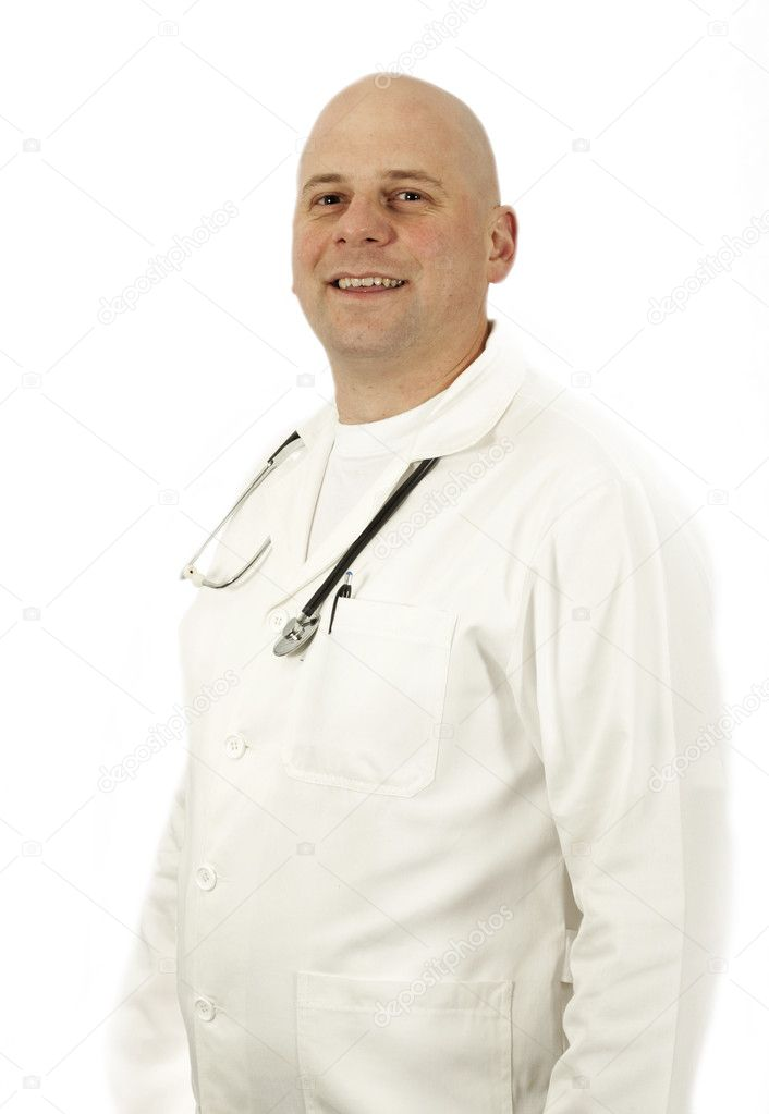 Doctor posing with stethoscope — Stock Photo #12151286