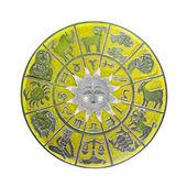Yellow horoscope wheel — Stock Photo