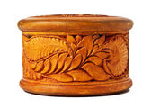 Round box decorated with carvings — Stock Photo