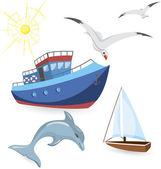 Boats dolphin seagulls — Stock Vector