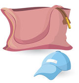 Pink bag and blue hat — Stock Vector