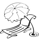 Black and white contour umbrella and beach chair — Vector de stock