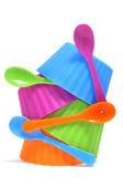 Plastic bowls — Stock Photo