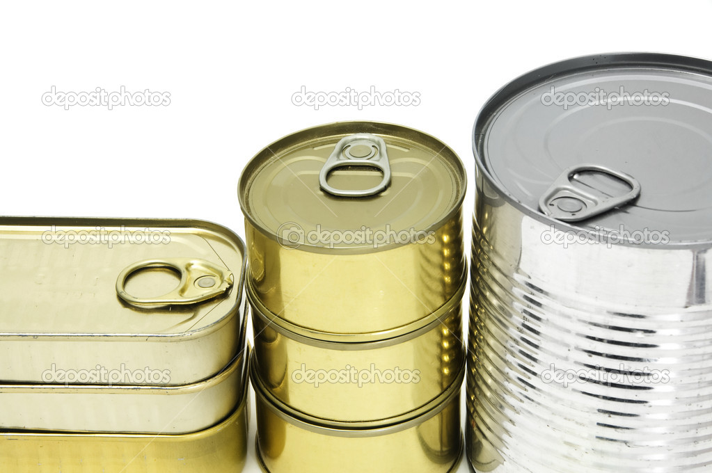 Several isolated cans on a white background — Foto Stock #10924402