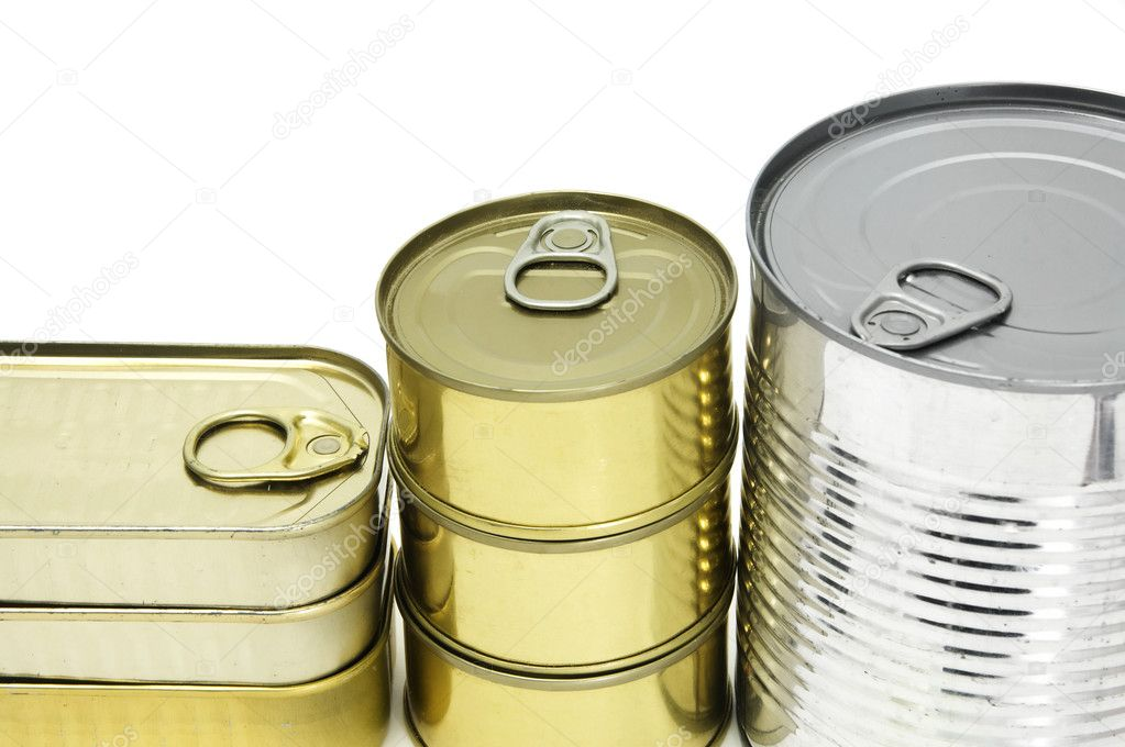 Several isolated cans on a white background — Photo #10924402