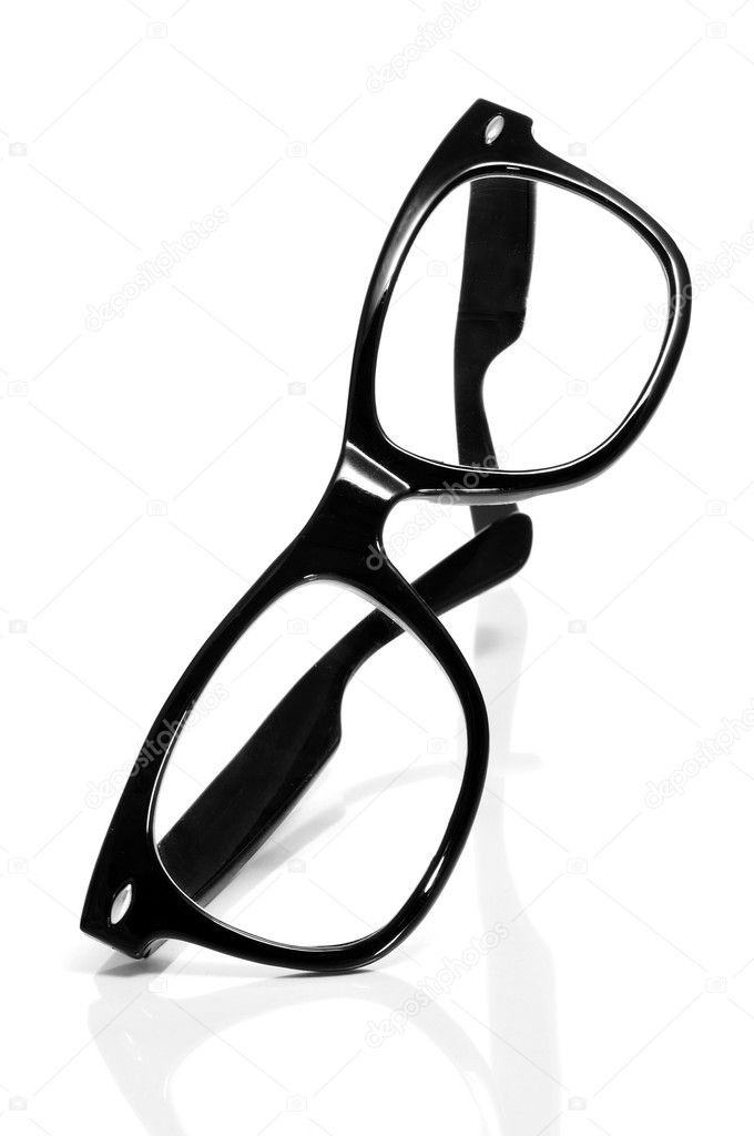 Black glasses on a white background — Stock fotografie #11094924