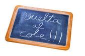 Zurück zur schule in spanisch geschrieben — Stockfoto