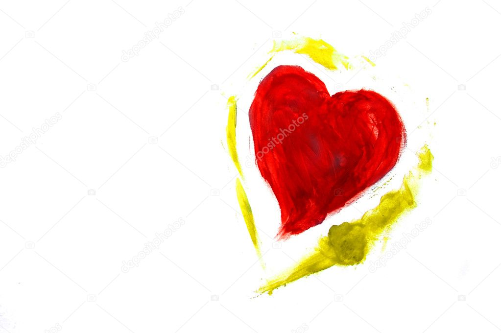 A red hearts drawn on white background  Stock Photo #12014901