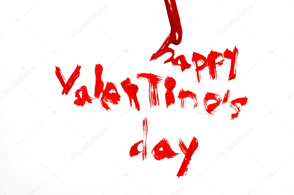 Happy valentine's day written in red on a white background  Foto Stock #12016330