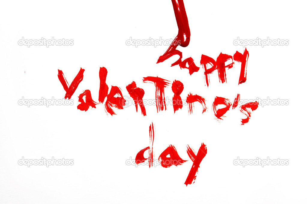 Happy valentine's day written in red on a white background  Stock fotografie #12016330