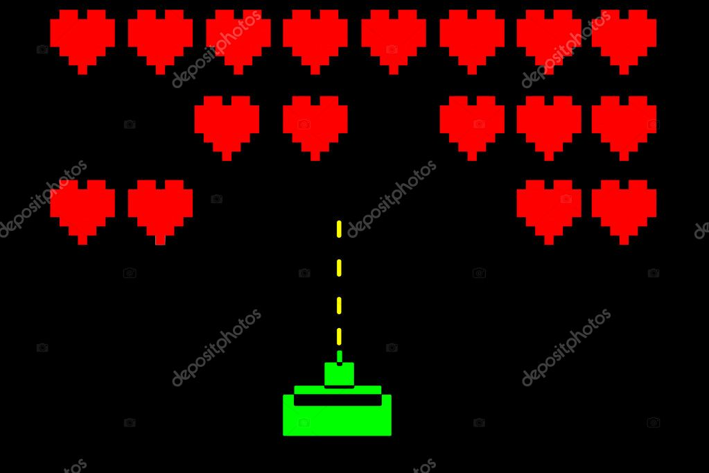 Game retro valentine on a black background — Stock Photo #12017065