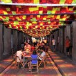 Stock Photo: Fraternitat Street garnished during Festes de Graci2012 in Bar