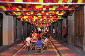Fraternitat Street garnished during Festes de Gracia 2012 in Bar — Stock Photo