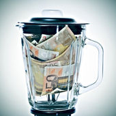 Euro bills in a blender — Stock Photo