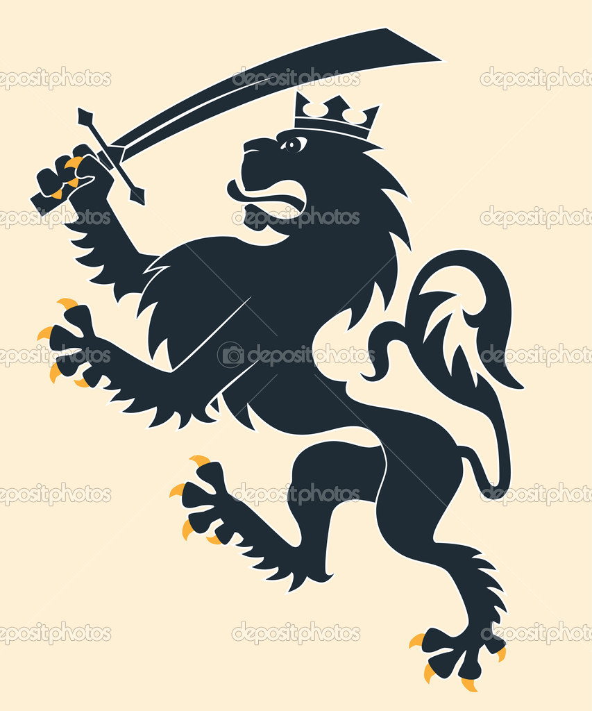 Heraldic lion with sword — Stock Vector #11330486