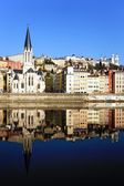 Church and Saone River — Stock Photo