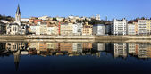 Panoramic view of Lyon and Saone River — Stock Photo