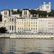 Stock Photo: Rhone river and basilica