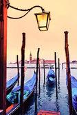 View of San Giorgio maggiore with gondolas — Stock Photo