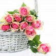 Pink roses in the Basket — Stockfoto