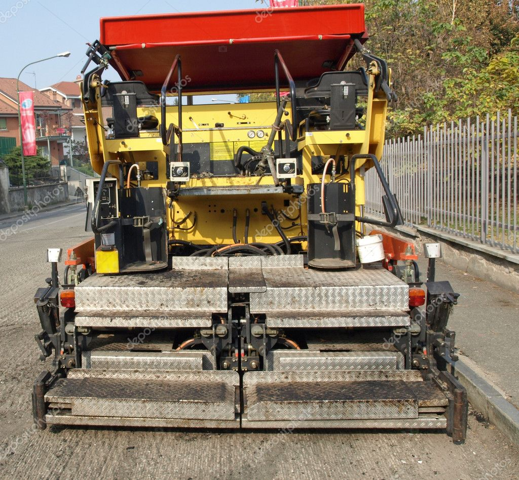Road works with asphalt machine — Stock Photo #11081041
