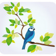 Bird sitting on tree branch — Stock Vector