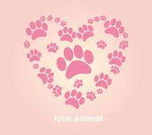 Background Heart animal's footprints — Stock Vector