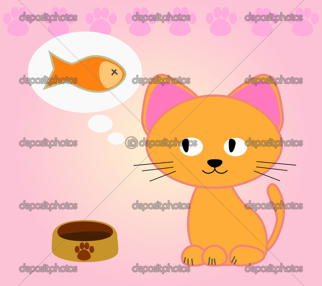 Cat dream about eating fish stock vector 876896789 for Dreaming of eating fish