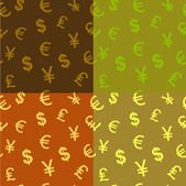 Seamless pattern background characters of world currencies — Vecteur